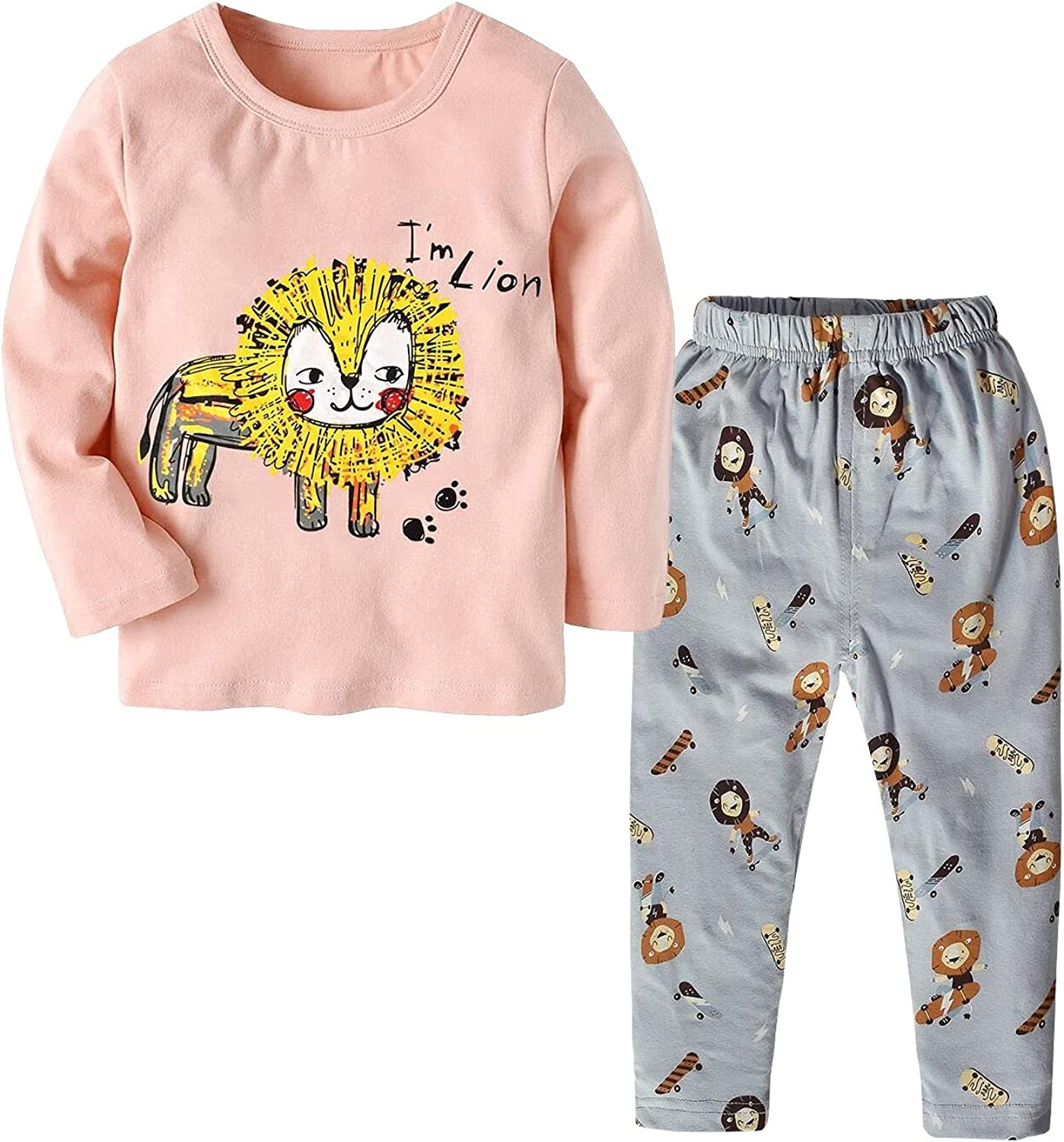 Infant Toddler Boys Girls 2-Piece Clothes Set Cotton Long-Sleeved Top+ Cute Printed Trousers Formfitting Baby Clothing Set