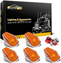 Partsam 5X Cab Roof Top Marker Light Amber Cover w basing House+T10 Socket Wiring Harness Compatible with Ford F-150 F-250 F-350 1973-1997 F Series Super Duty Pickup Truck