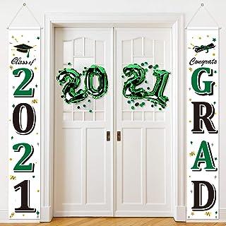 2021 Graduation Party Decorations Graduation Porch Sign 2021 Congrats Graduation Banner Hanging Flags Sign 2021 Grad Party...