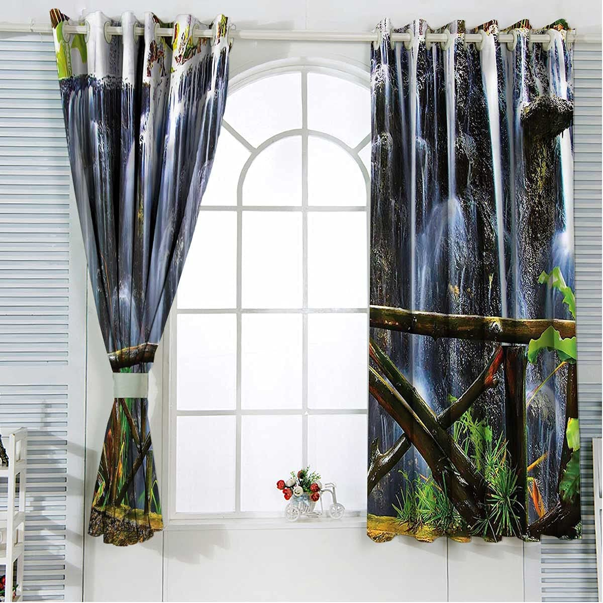 Waterfall Bargain sale Noise Cancelling Curtains 63 Inch Park Length Tropical Dealing full price reduction