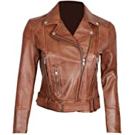 Womens Black Leather Jacket -... Womens Black Leather Jacket - Genuine Lambskin Chocolate Brown Leather Jackets for Women