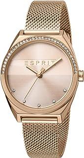 ساعة سلايس جلام للنساء من اسبريت مع مينا باللون الذهبي الوردي وسوار من الستانلس ستيل وعرض انالوج - طراز ES1L057M0065