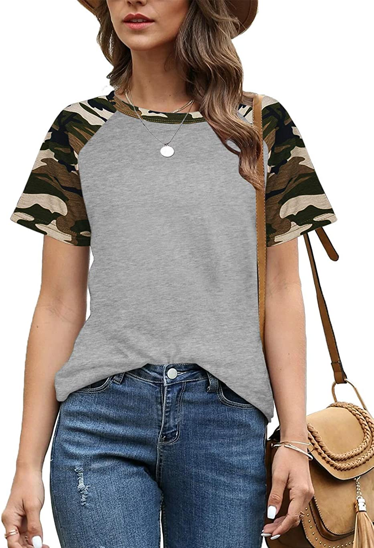 Aifer Womens Short Sleeve Max 70% OFF Shirts Crew Ragla Sales for sale Neck Block Color Top
