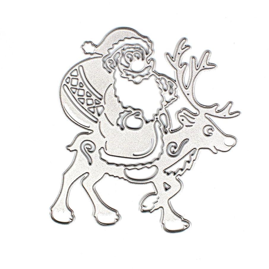 Santa Claus On Reindeer Metal Cutting Dies Stencils DIY Embossing Scrapbooking Album Paper Card Craft(Santa Claus and Elk)