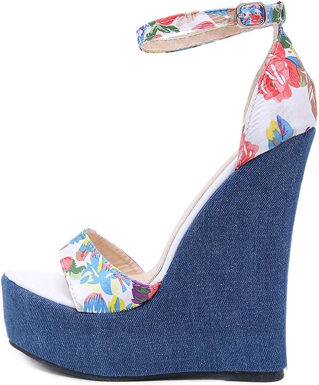 Betterluse Flats Sandals Open Toe Wadge Heels Party Dress shoes Flower Ankle Strap Platform shoes Woman Rome Style