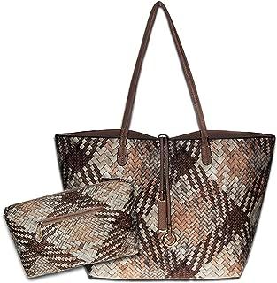 Tote Bag Roomy Soft Leather Large Shoulder Bags Women Waterproof Woven Handbag Capacity 2PCS