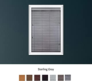Luxr Blinds Custom Made Premium Faux Wood Horizontal Blinds W/Easy Inside Mount & Outside Mount Wood Blind - Size: 24X35 Inch & Wooden Color: Sterling Gray