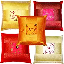 rajwada-fashion Indian Ethnic Hand Embroidery Decorative Silk Pillow Cushion Cover Set of 5 Pcs Size 16 X 16 Inch.