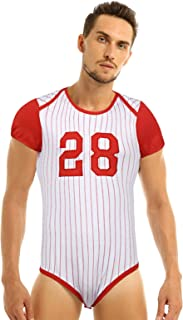 Men's Adult Baby Press Button Crotch Romper Pajamas Baseball Themed Party Costume Uniform