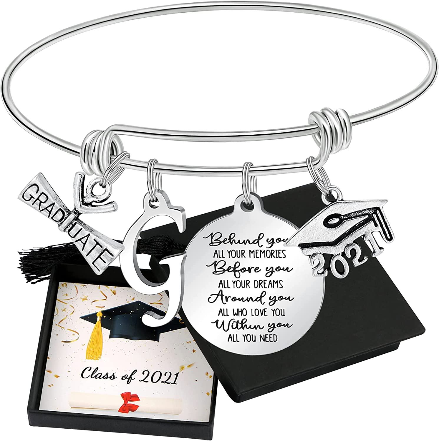 Graduation Gift For Class of 2021 Graduates Graduation Gifts for Her Inspirational Initial Letter Bangel Bracelets for Niece Girlfriend Granddaughter Daughter Friends