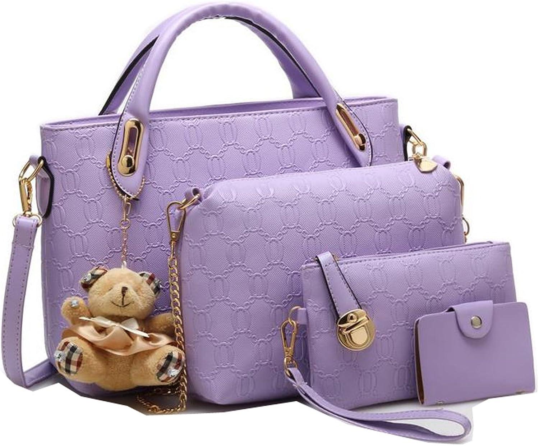 Weilong Women Handbag,Women Bag, Vintage PU Leather Shoulder Bag Purse 3 PCS Set