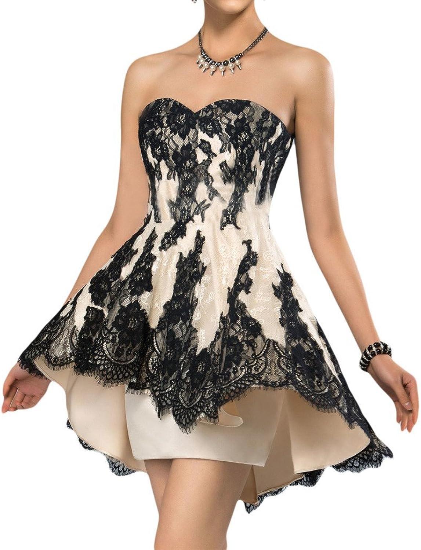 Angel Bride ALine Lace Prom Dresses Mini Asymmetrical Trim Formal Party Gowns