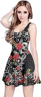 Womens Grunge Skulls Skeleton Bones Horror Creepy Weirdo Scarry Gothic Dark Sleeveless Dress, XS-5XL