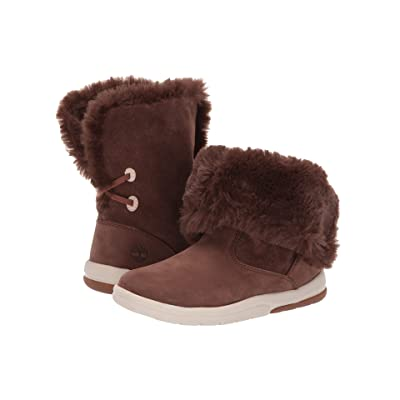 Timberland Kids Toddle Tracks Faux Shearling Bootie (Toddler/Little Kid) (Dark Brown Nubuck) Kids Shoes