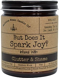 Malicious Women Candle Co - But Does It Spark Joy?, Clean Linen Infused with Clutter & Shame, All-Natural Organic Soy Candle, 9 oz