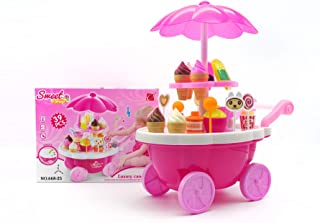 VERZABO Ice Cream Cart Food Truck Toy Toddler Toys Ice Cream Toy 39 Piece Play Ice Cream Set with Music Lights and Sound Pretend Play Ice Cream Toy Great Christmas Toy for Toddler Girl/Bo