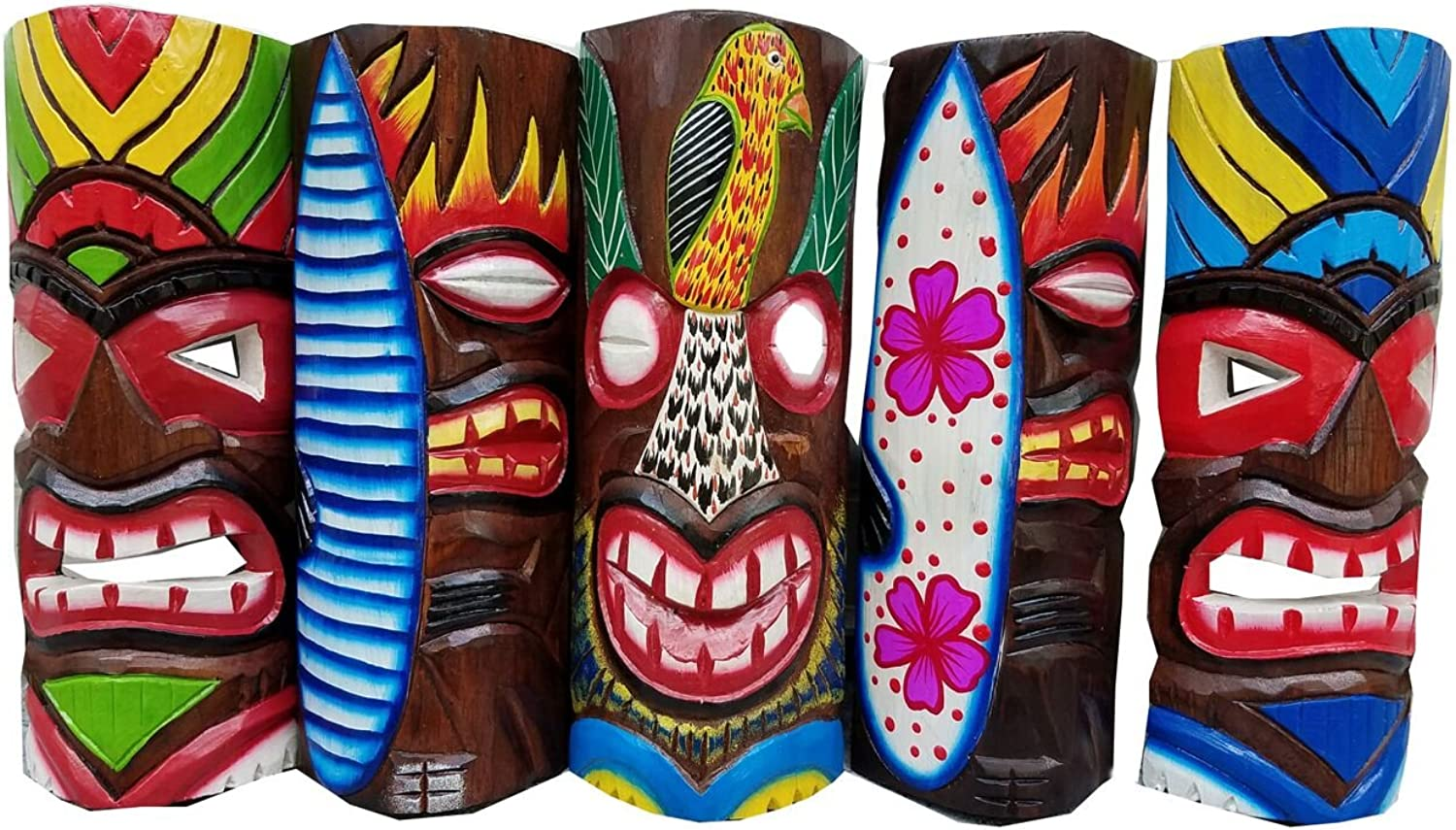 Set of (5) Vibrant Wooden Handcarved 12  Tall Tiki Masks Tropical Wall Decor