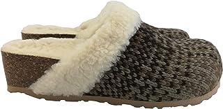 Silfer Shoes - Sabot in Vero Sughero Fodera,Lana, Tessuto Lana, Colore Marrone- Ideale Anche per Stare in casa (38 EU)