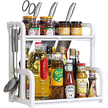 Callas 2-Tier Multi Functional Kitchen Rack with 4 Hooks Kitchen Organizer, Bathroom Organizer, Desk Organizer, CA-R101