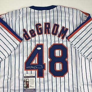 8833168365b Autographed/Signed Jacob DeGrom New York NY Pinstripe Baseball Jersey JSA  COA