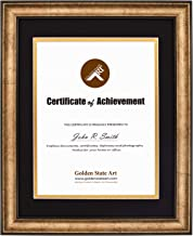 11x14 Vintage Antique Style Gold Frame - Black Over Gold Double Mat for 8.5x11 Documents - Fits Diplomas, Certificates, and More - Wall Mounting - Landscape/Portrait - Black Trim - Real Glass