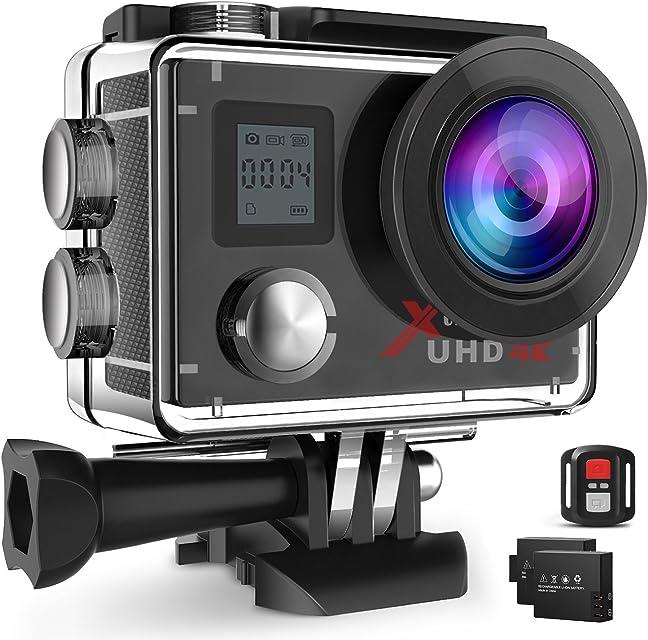 Campark ACT76 Camara Deportiva 4K Ultra HD Cámara de Acción (16MP Control Remoto Wi-Fi Camera Acuatica con 170 Gran Angular y 2 Baterías)