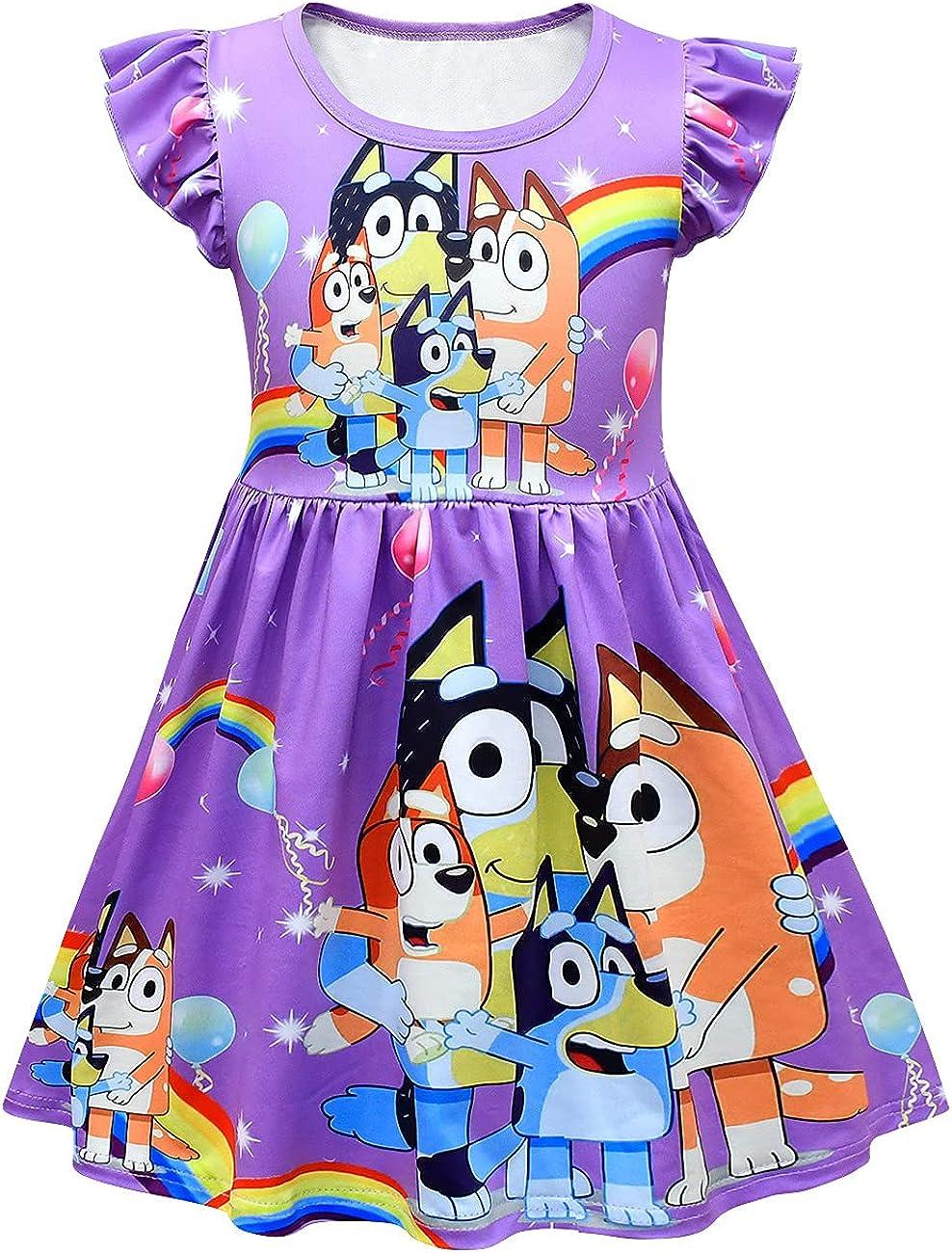 XXTWYY Toddler Girls Princess Dress Little Kids Summer Cartoon Dog Print Casual Shirtdress
