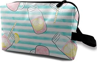 Pink Lemonade Teal Stripes Travel Makeup Cute Cosmetic Case Organizer Portable Storage Bag for Women