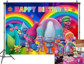 Cartoon Trolls Poppy Animation Movies Photo Background Happy Birthday Party Photography Backdrops Baby Shower Cake Table Colorful Decor Banner Booth Studio Props 5x3 Vinyl
