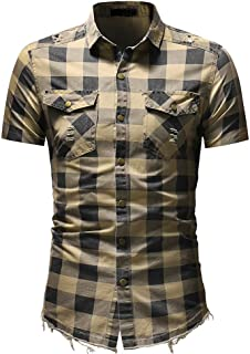 Men's Short Sleeve Tee Tops Slim Fit Button Turn Down Plaid Shirt with Pocket T-Shirts Blouse