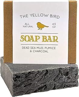 Dead Sea Mud Soap Bar - With Exfoliating Pumice Scrub & Detoxifying Charcoal. Organic & Natural Essential Oils. Handmade i...