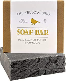 Dead Sea Mud Soap Bar – With Exfoliating Pumice Scrub & Detoxifying Charcoal...
