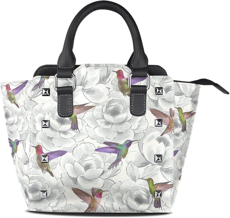 Sunlome Floral Birds Hummingbird Print Women's Leather Tote Shoulder Bags Handbags