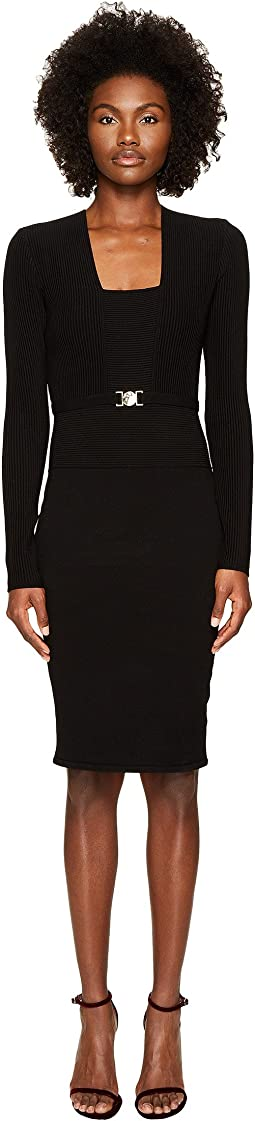 Long Sleeve Knit Belted Dress