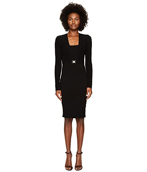 Versace Collection Long Sleeve Knit Belted Dress