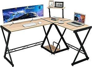 GreenForest L Shaped Corner Computer Desk with Storage Shelf PC Table Workstation for Home Office, Oak