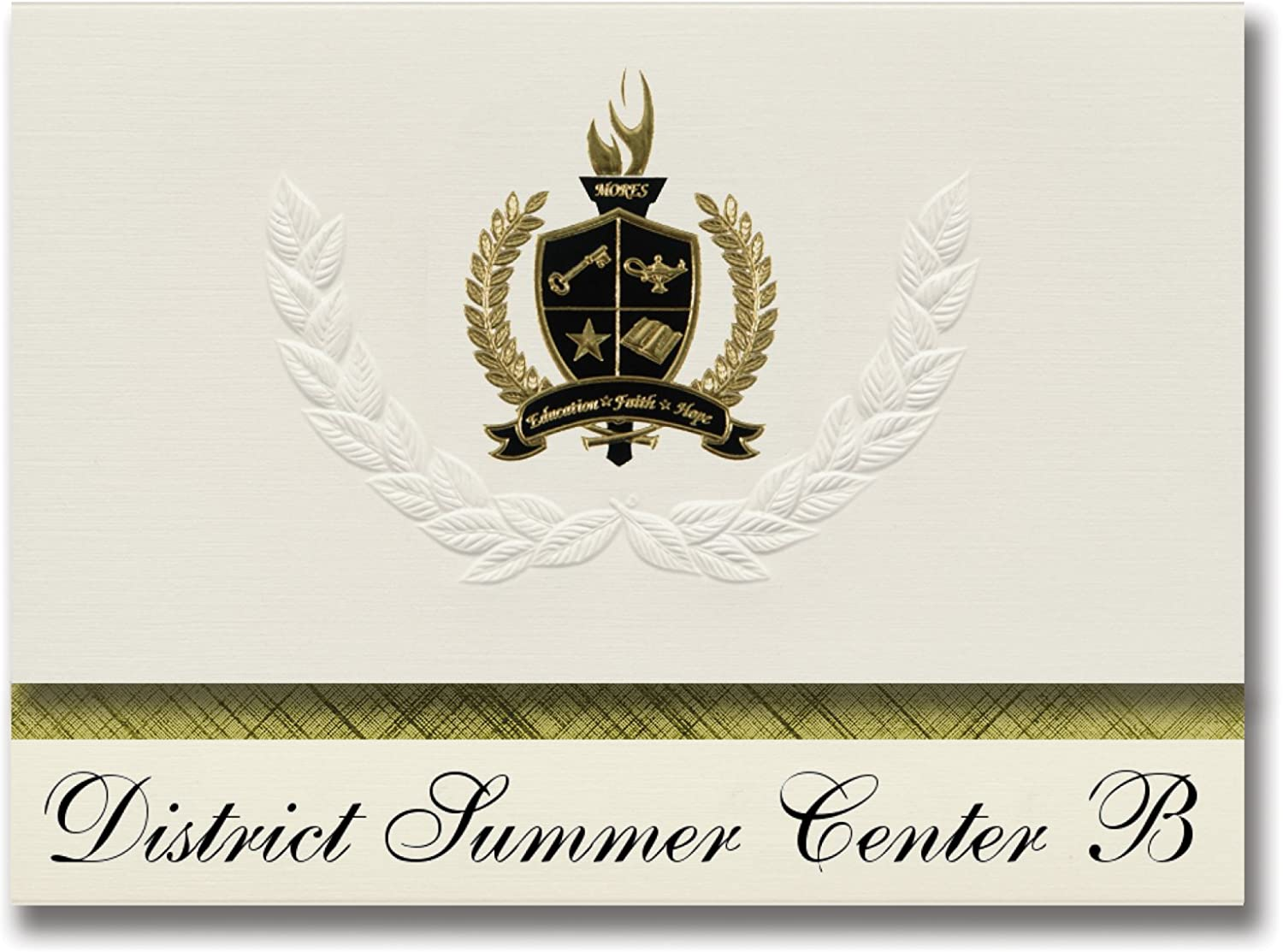 Signature Ankündigungen District Sommer Center B (Miami, Fl) Graduation Ankündigungen, Presidential Stil, Elite Paket 25 Stück mit Gold & Schwarz Metallic Folie Dichtung B078VCSCLW   | Hohe Qualität und günstig