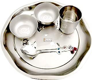 Prisha India Craft Stainless Steel Kids 5 Pieces Little King Dinner Set, Thali Diameter 9.00 Inch