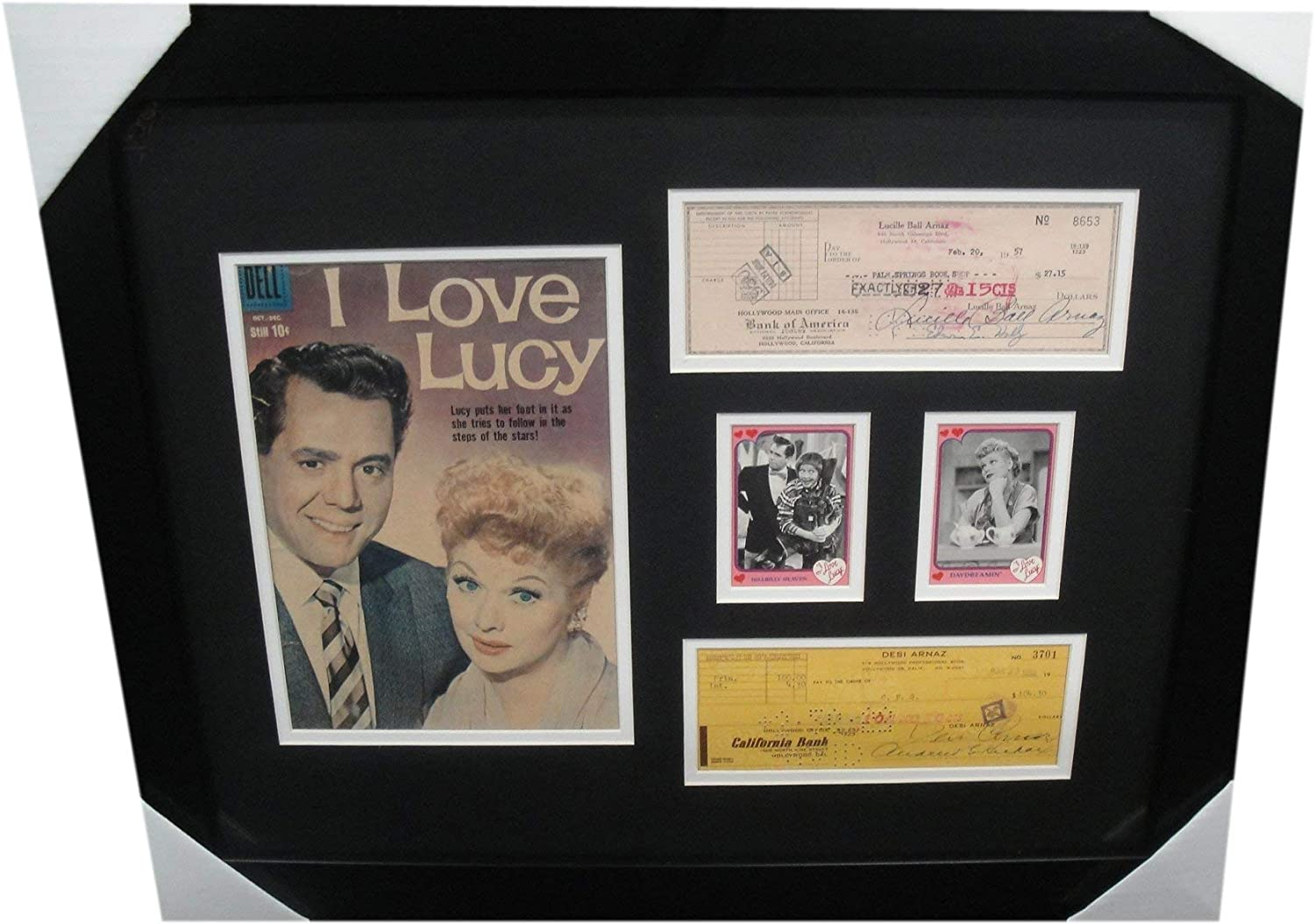 Lucille Ball Desi Arnaz Signed Fort New color Worth Mall Checks Comic Personal Framed w