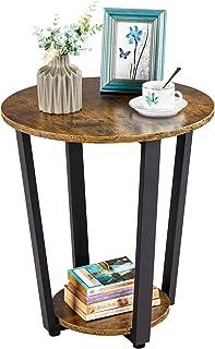 Yaheetech Table d'Appoint Bout de Canapé en Bois Industriel Rond à 2 Niveaux Guéridon Style Rétro Meuble de Salon Chambre ...