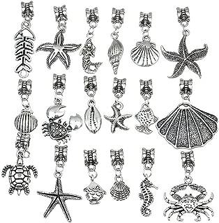 Linsoir Beads 20 pcs Mixed Nautical Charms Set Beach Charms Turtle Charms Sea Shell Pendant Octopus Pendant Crab Charm Pendant Bulk Wholesale Lots
