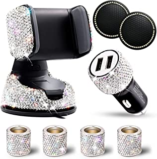 6 Pack Bling Rhinestones Cell Phone Set (Car Cell Phone Holder + 2-Port Car USB Charger + 4 Car Headrest Collars) for Wome... photo