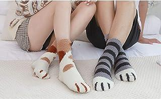 MIWNXM, 10 Pares Women's/Men's Winter Warm Cat Paw Socks Cute Cartoon Animal Soft Velvet Funny Sock Kawaii Fashion Floor Happy Fuzzy Fluffy Socks