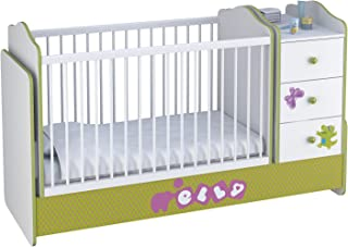 Polini Kids Kombi-Kinderbett Basic mit Kommode weiß grün Elly Wippfunktion
