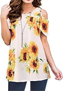 Viracy Womens Cold Shoulder Shirts Short Sleeve Casual Floral Tunic Tops