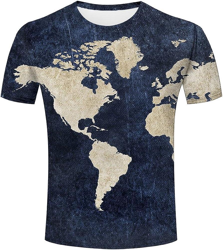 Women Men T-Shirt 3D Print Short Sleeve Tee Tops World Map Plus Size Casual