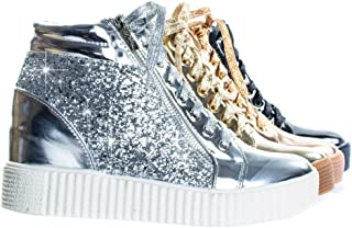 Forever Link Retro Glitter Oxford Lace Up Platform Wedge Creeper, Women Sneaker