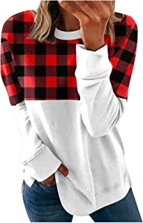 Women Sweatshirts Plaid Print Printing Color Block Long Sleeve Comfy Loose Soft Tops Casual T Shirts Pullover