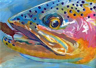 Trout Fishing Art Print, Fly Fishing Gift - Trout Fishing Wall Decor Hand Signed By Jack Tarpon, Rainbow Trout Fish Wall Art Choice of Sizes.