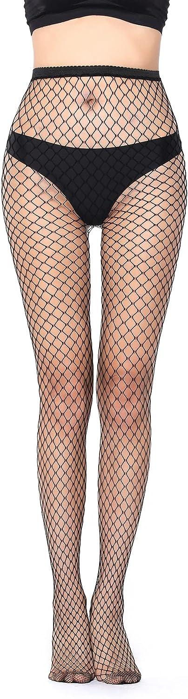 WDIRARA Women's Mesh Sheer Stockings Fishnet Tights Footed Pantyhose Tights